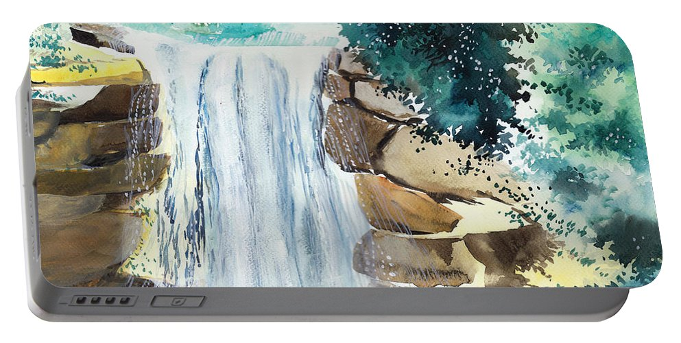 Nature Portable Battery Charger featuring the painting Falling Waters by Anil Nene
