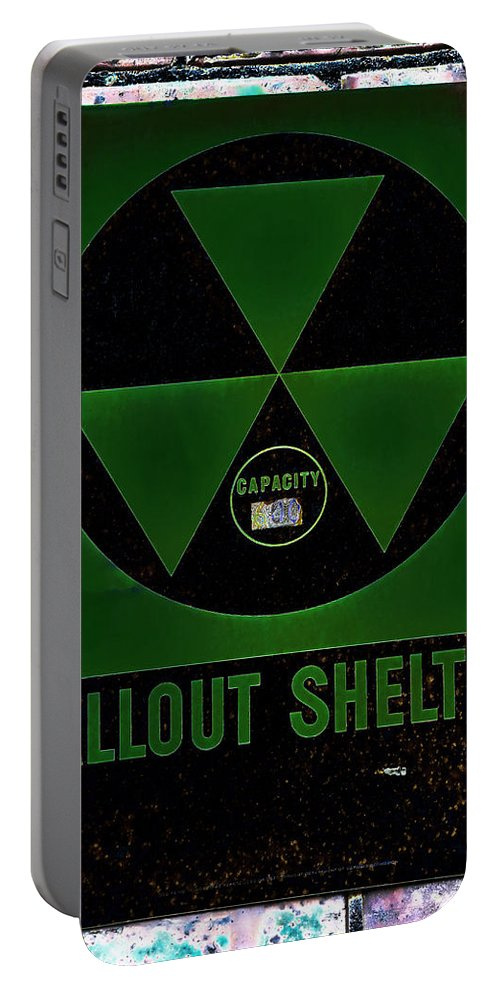 Fallout Portable Battery Charger featuring the photograph Fallout Shelter Wall 4 by Stephen Stookey