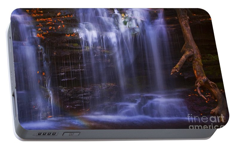 Ricketts Glen Portable Battery Charger featuring the photograph Falls And Log by Paul W Faust - Impressions of Light