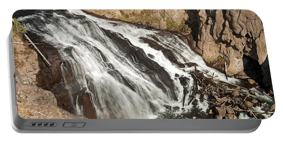 Falls Portable Battery Charger featuring the photograph Falls On The Gibbon River In Yellowstone National Park by Fred Stearns