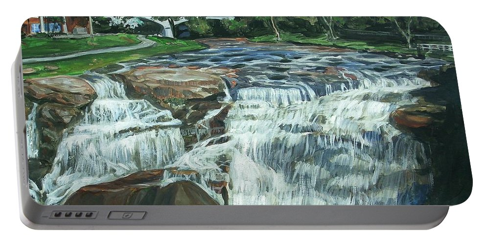 Waterfall Portable Battery Charger featuring the painting Falls River Park by Bryan Bustard