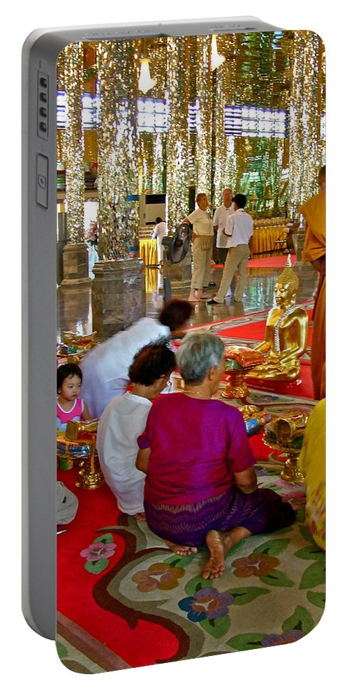 Families Awaiting Teaching From A Monk At Wat Tha Sung Temple In Uthaithani Portable Battery Charger featuring the photograph Families Awaiting Teaching From A Monk At Wat Tha Sung Temple In Uthaithani-thailand by Ruth Hager