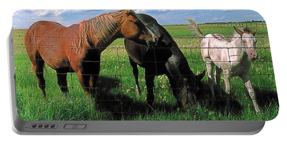 Scenic Portable Battery Charger featuring the painting Family Meal by Terry Reynoldson