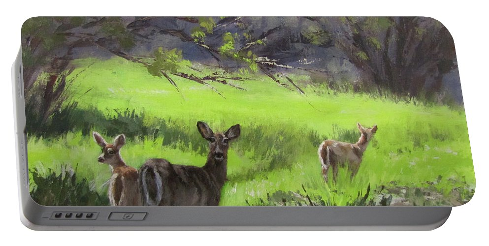 Deer Portable Battery Charger featuring the painting Family Outing by Karen Ilari