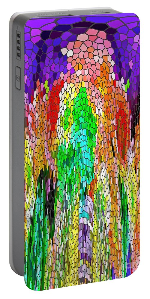 Colors Portable Battery Charger featuring the painting Fanciful Colors Abstract Mosaic by Saundra Myles