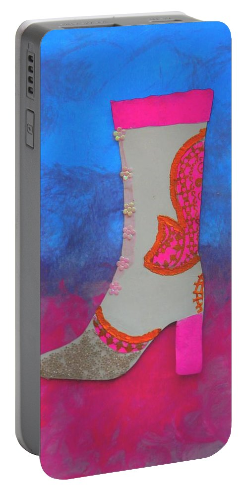 Pink Portable Battery Charger featuring the mixed media Fancy Boot by Owl's View Studio
