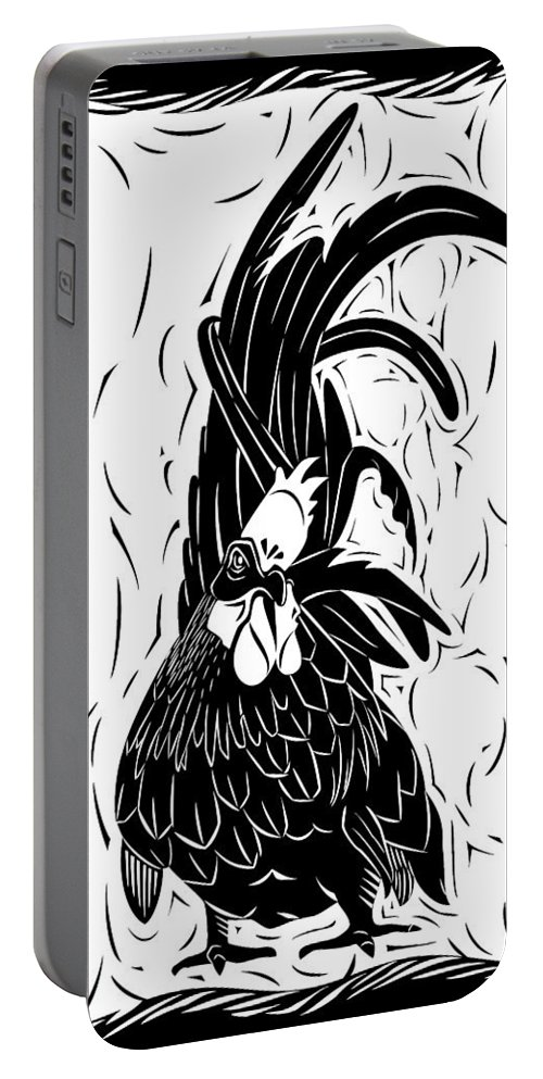 Rooster Portable Battery Charger featuring the digital art Fancy Tail by Alison Stein