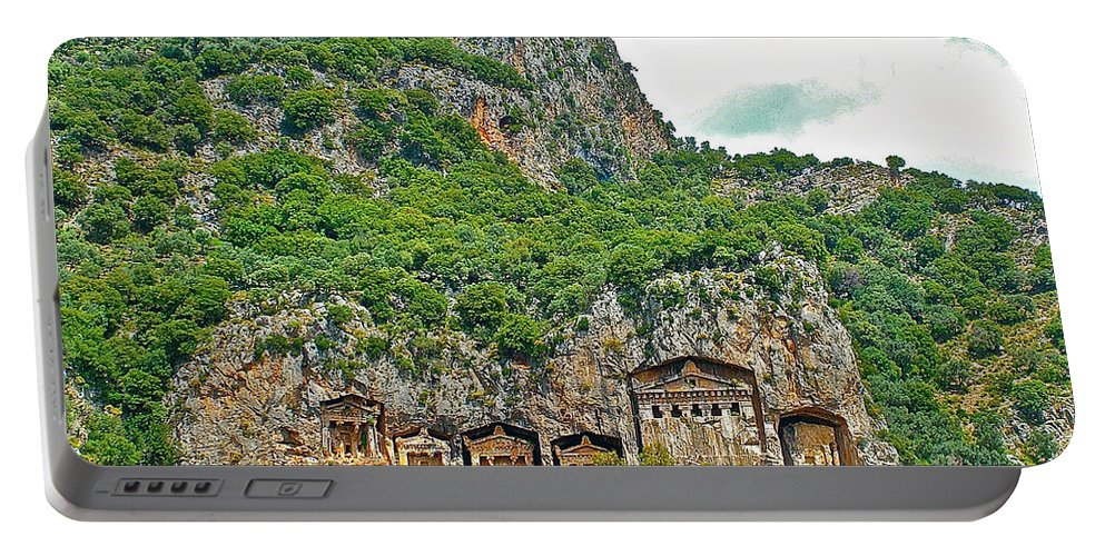 Fancy Tomb Carvings At The Top In Daylan Portable Battery Charger featuring the photograph Fancy Tomb Carvings At The Top In Daylan-turkey by Ruth Hager
