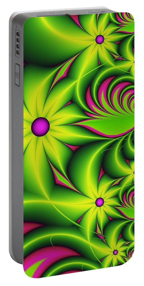 Fractal Portable Battery Charger featuring the digital art Fantasy Flowers by Gabiw Art