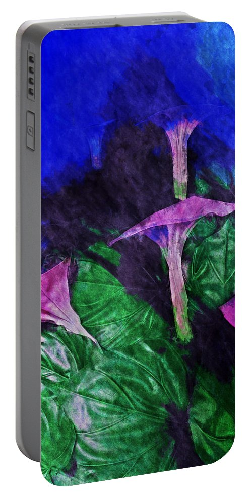 Asia Portable Battery Charger featuring the digital art Fantasy Flowers Watercolor 2 Hp by David Lange