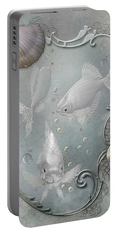 Ocean Portable Battery Charger featuring the mixed media Fantasy Ocean 2 by Carol Cavalaris