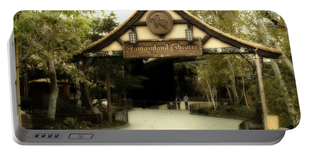 Disney Portable Battery Charger featuring the photograph Fantasyland Theatre Signage Disneyland by Thomas Woolworth