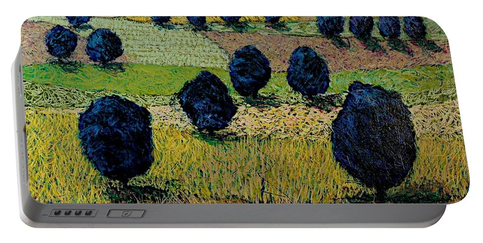 Landscape Portable Battery Charger featuring the painting Faraway Field by Allan P Friedlander