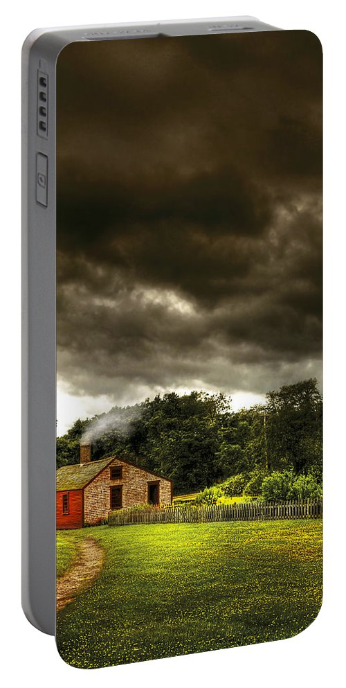 Savad Portable Battery Charger featuring the photograph Farm - Barn - Storms A Comin by Mike Savad
