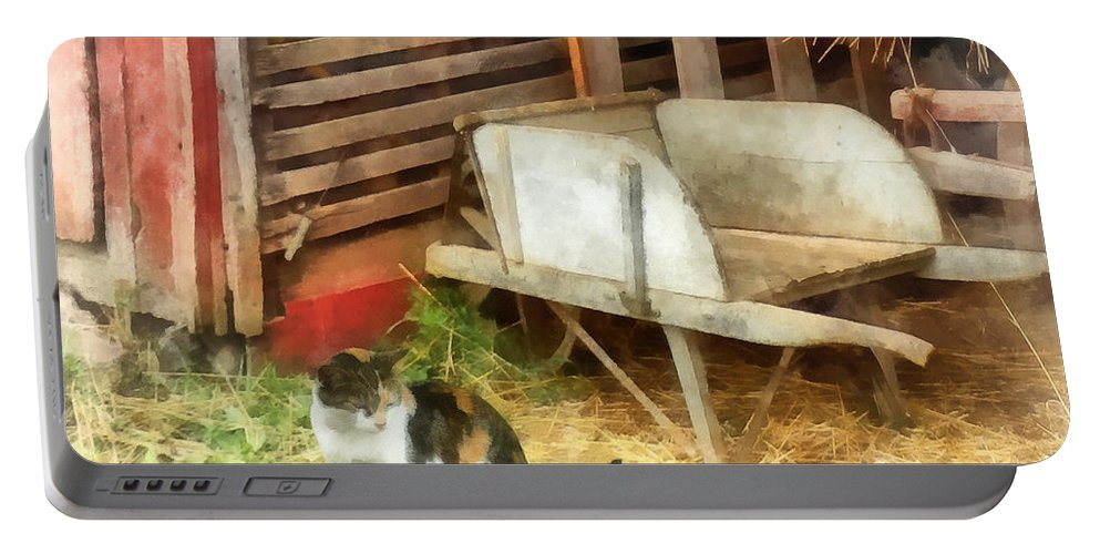 Cat Portable Battery Charger featuring the photograph Farm Cat by Susan Savad