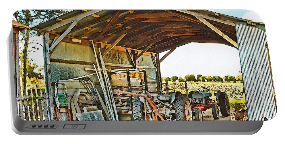 Arcitecture Portable Battery Charger featuring the photograph Farm Shed Digital Watercolor by Debbie Portwood