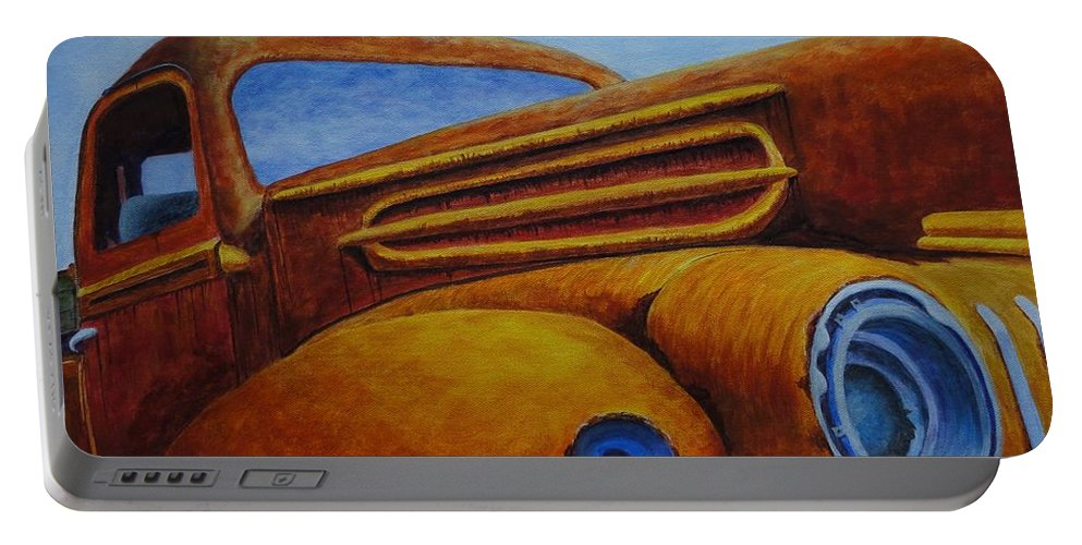 Xochi Hughes Madera Portable Battery Charger featuring the painting Farm Truck by Xochi Hughes Madera