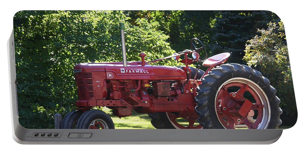 Tractor Portable Battery Charger featuring the photograph Farmall's End Of Day by Denyse Duhaime