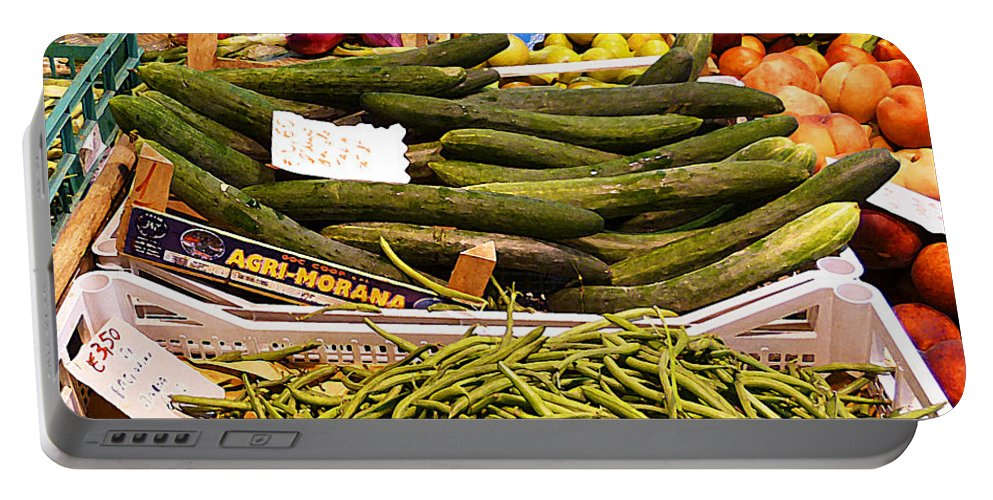 Onions Portable Battery Charger featuring the photograph Farmers Market Florence Italy by Irina Sztukowski