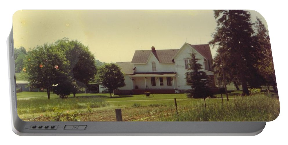 Michigan Farm And Landscape Portable Battery Charger featuring the photograph Farmhouse And Landscape by Robert Floyd