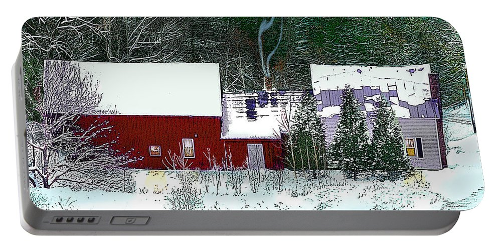 Vermont Portable Battery Charger featuring the digital art Farmhouse In Winter by Nancy Griswold