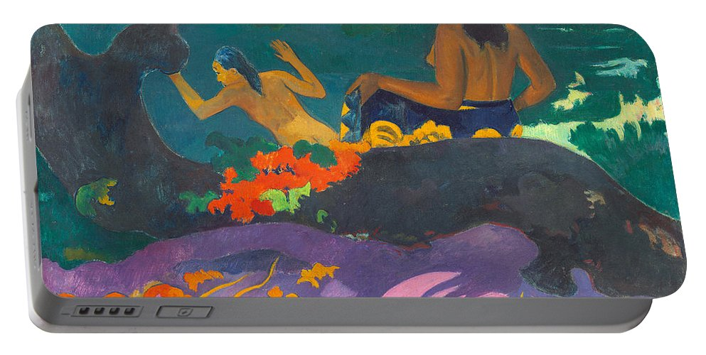 Paul Gauguin Portable Battery Charger featuring the painting Fatata Te Miti.by The Sea by Paul Gauguin