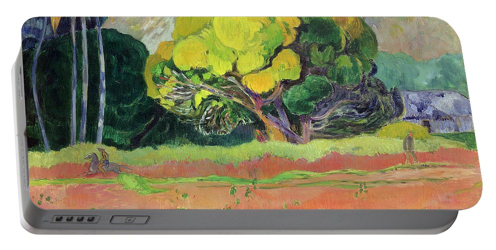 Tahiti Portable Battery Charger featuring the painting Fatata Te Moua by Paul Gauguin