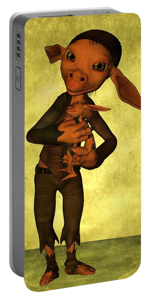 Child Portable Battery Charger featuring the digital art Father And Son by Gabiw Art