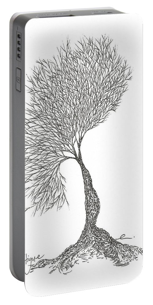 Tree Portable Battery Charger featuring the drawing Fatigue by Andrea Currie