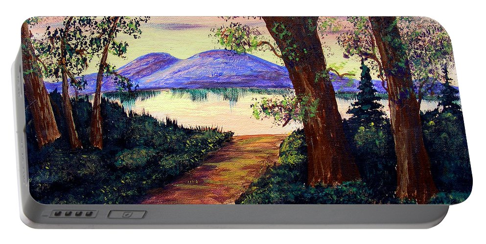 Barbara Griffin Portable Battery Charger featuring the painting Favorite Fishing Spot by Barbara Griffin