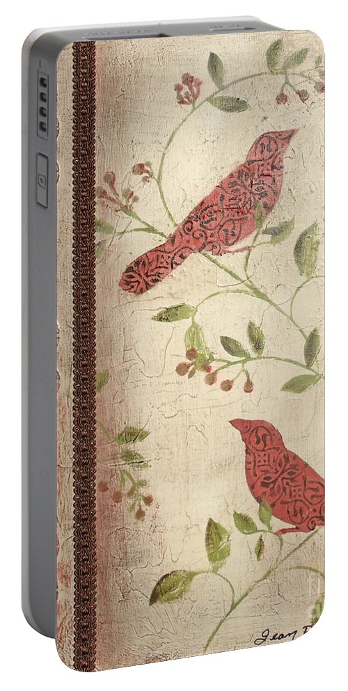 Acrylic Painting Portable Battery Charger featuring the painting Feathered Friends by Jean Plout
