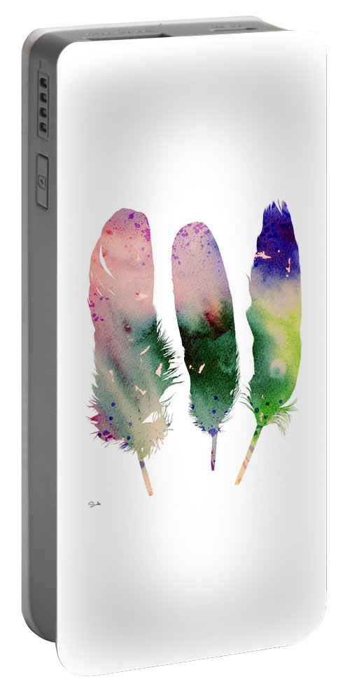 Feathers Portable Battery Charger featuring the painting Feathers 4 by Watercolor Girl