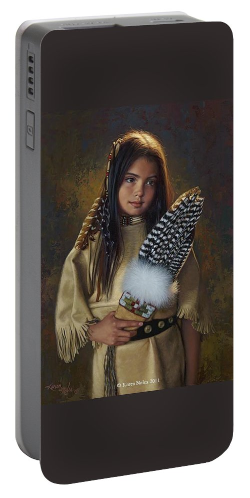 Feathers And Light Portable Battery Charger featuring the digital art Feathers And Light by Karen Noles