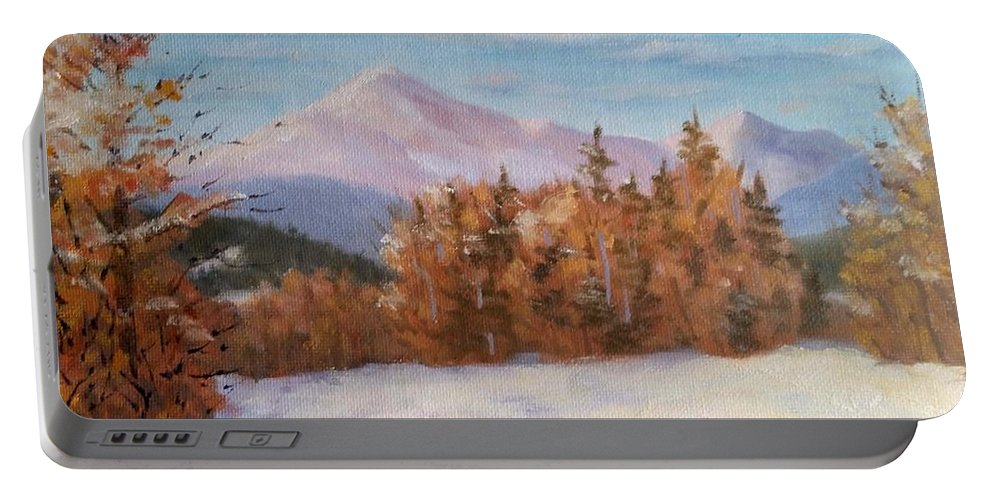 Mt Washington Portable Battery Charger featuring the painting February at First Bridge by Sharon E Allen