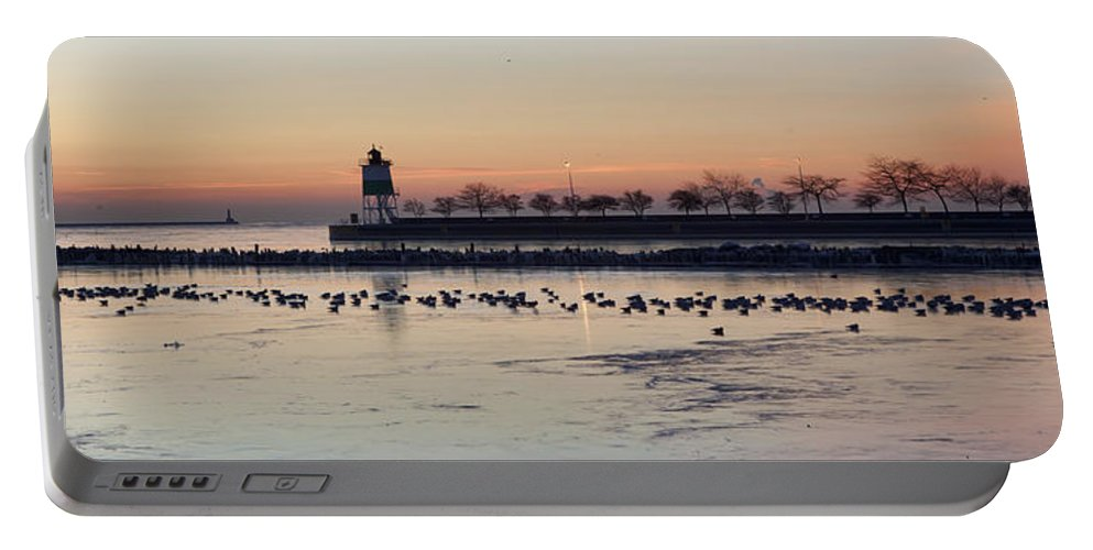 Navy Pier Portable Battery Charger featuring the photograph February Navy Pier Chicago Illinois by Evie Carrier