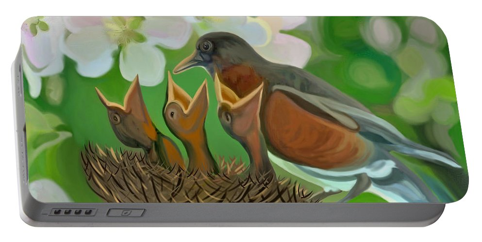 Birds Portable Battery Charger featuring the painting Feed Me Momma by Susanna Katherine