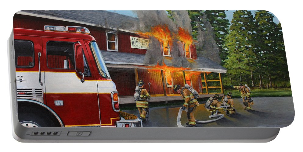 Bulding Fire Portable Battery Charger featuring the painting Feed Store Fire by Paul Walsh