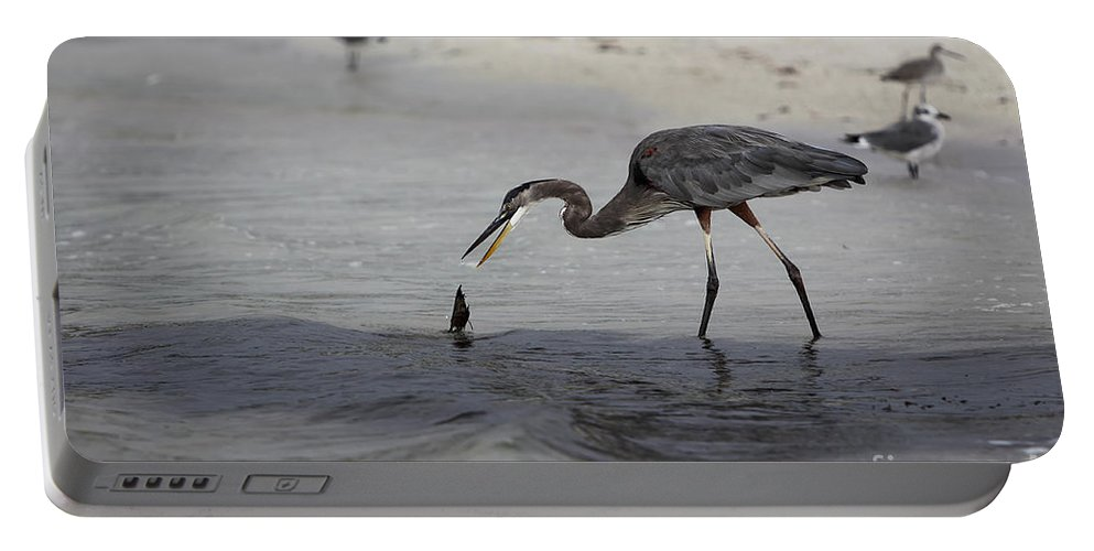 Great Blue Heron Portable Battery Charger featuring the photograph Feeding Time by Rick Kuperberg Sr