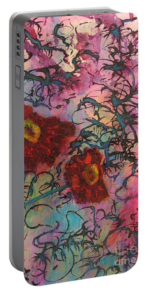 Flowers Portable Battery Charger featuring the painting Feel Free by Mini Arora