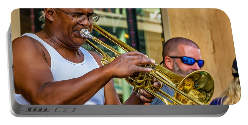 Nola Portable Battery Charger featuring the photograph Feel It - New Orleans Jazz by Steve Harrington