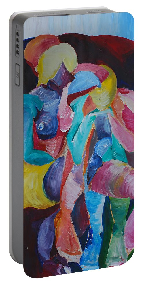 Feminine Art Portable Battery Charger featuring the painting Female Art by Catt Kyriacou