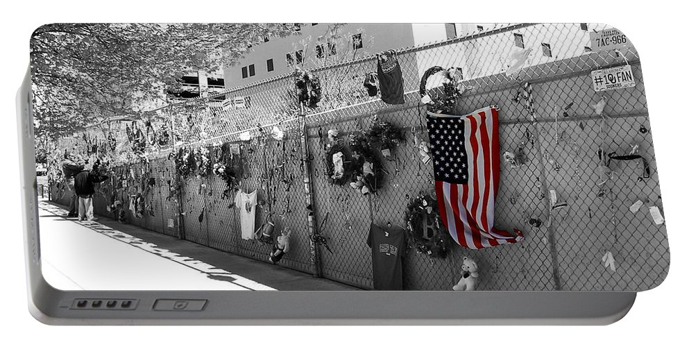 Flag Portable Battery Charger featuring the photograph Fence At The Oklahoma City Bombing Memorial by Beverly Stapleton
