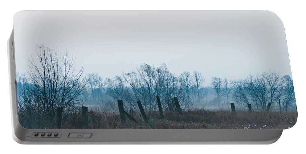 Landscapes Portable Battery Charger featuring the photograph Fence In The Fog by Cheryl Baxter