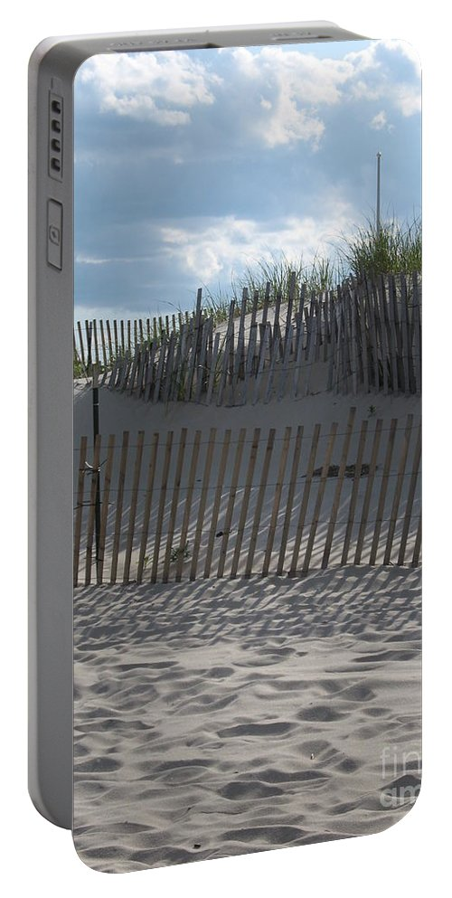 Fence Portable Battery Charger featuring the photograph Fenced Dune by Christiane Schulze Art And Photography