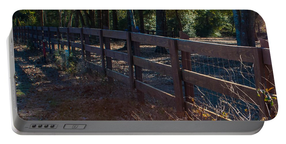 Fence Portable Battery Charger featuring the photograph Fenceline 1 by Mechala Matthews