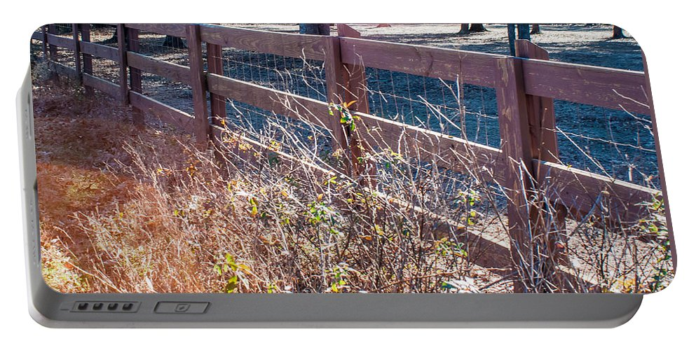 Fence Portable Battery Charger featuring the photograph Fenceline 2 by Mechala Matthews