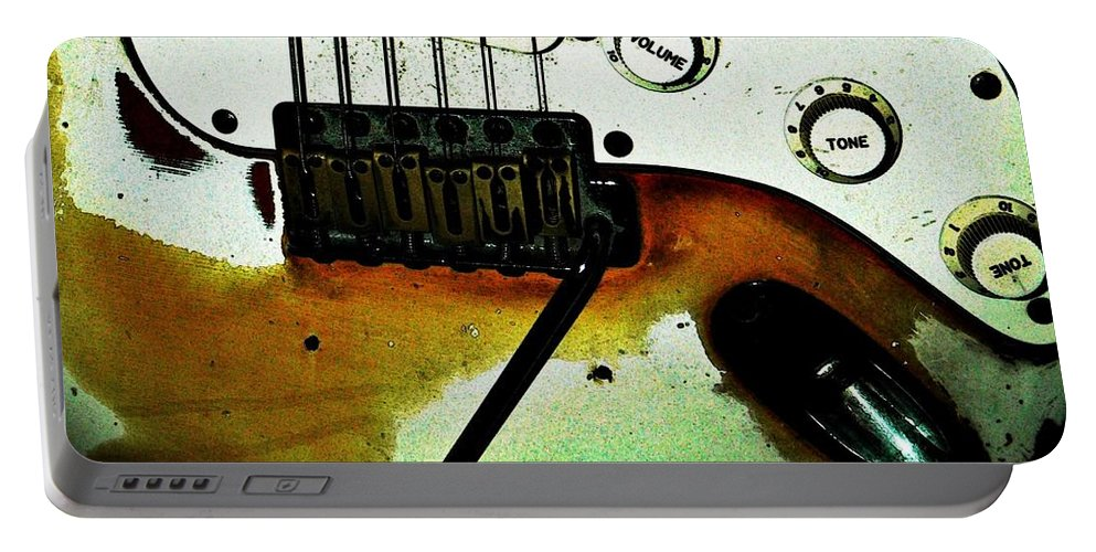 Music Portable Battery Charger featuring the photograph Fender Detail by Chris Berry