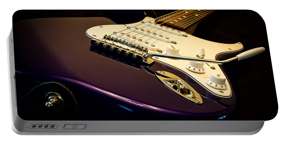 Fender Portable Battery Charger featuring the photograph Fender Stratocaster In Blue by Curtis Cabana