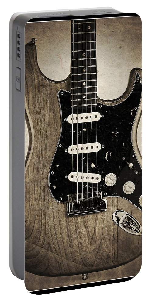 Guitar Portable Battery Charger featuring the photograph Fender Stratocaster Sepia Border by John Cardamone
