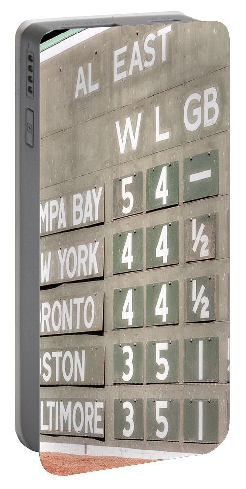 Green Monster Portable Battery Charger featuring the photograph Fenway Park Al East Scoreboard Standings by Susan Candelario